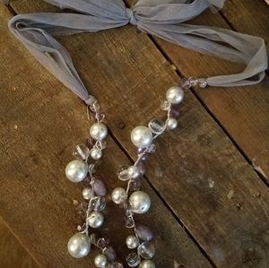 Anthropologie Pearl & Bead Long Tie Necklace